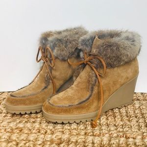 Coach Kataya Suede Fur Wedge Ankle Boot Size 7.5